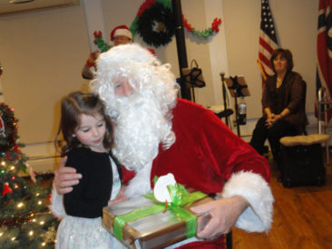 Fredrikstad Lodge members welcome Santa Claus to their 2017 Christmas party