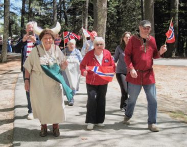 The Maine Nordmen Parade is being led by Carolyn Browne, President Anne-Lise Moson, and Trustee Karl Livollen